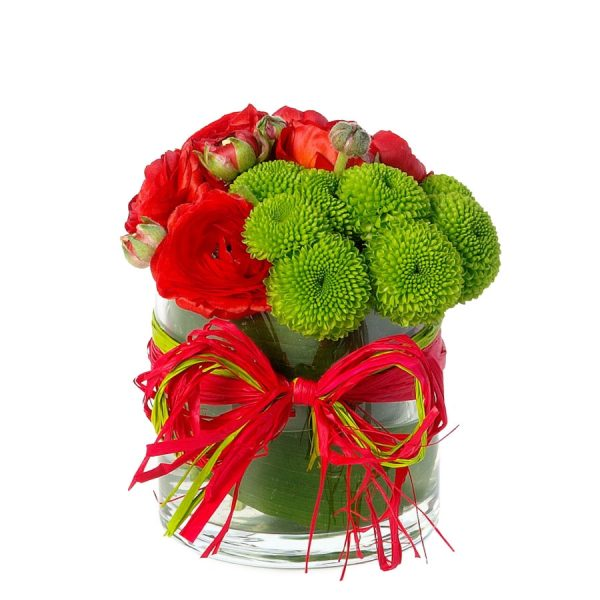 Jarra de Vidro com Mistura de Flores e Laço-0